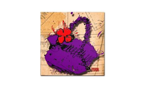 Roderick Stevens 'Flower Purse Red on Purple' Canvas Art (Goods For The Home Prints & Decals) photo