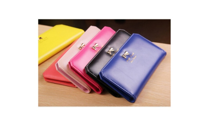Fashion Women Leather Bowknot Clutch Wallet Long Card Holder