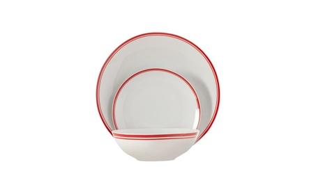 12 Piece Striped Porcelain Dinnerware Set, Service for 4