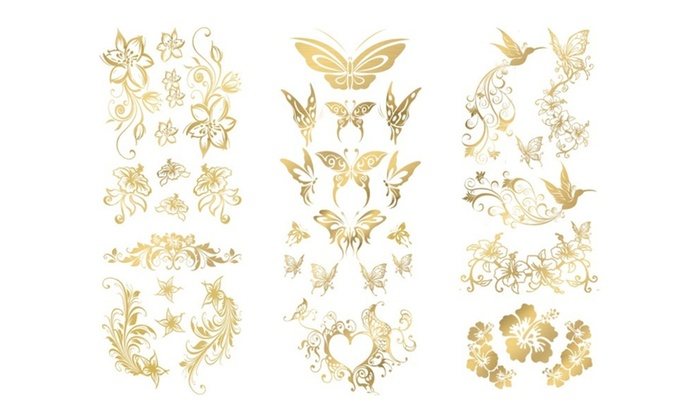 SUNGODDESS Gold Temporary Tattoos - 3 Sets +30 Appliques