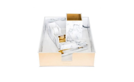 Acrylic White Marble Pencil Cup Gold Office Gift Boxed 5aae5758-525a-4518-aad9-a613d553c00b