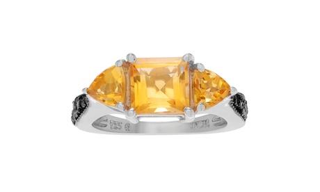 Journee Collection Sterling Silver Diamond 1/5 TDW Citrine Ring 3115a84e-613f-4e8e-a61e-b4a138890759