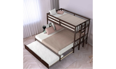 Costway Twin Over Twin Pull-Out Bunk Bed with Trundle Wooden Ladder