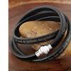 Stainless Steel Lord's Prayer Black Leather Wrap Bracelet