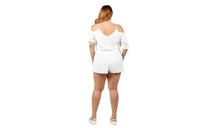 d3bce625b83 Xehar Women s Plus Size Casual Cold Shoulder Short Romper