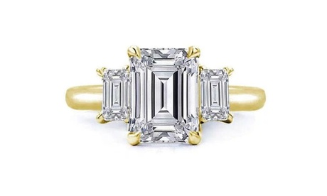 Tri Stone Emerald Cut Crystal Ring Made With Crystals From Swarovski