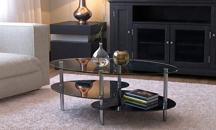 Dual Fishtail Style Tempered Glass Coffee Table Transparent/Black