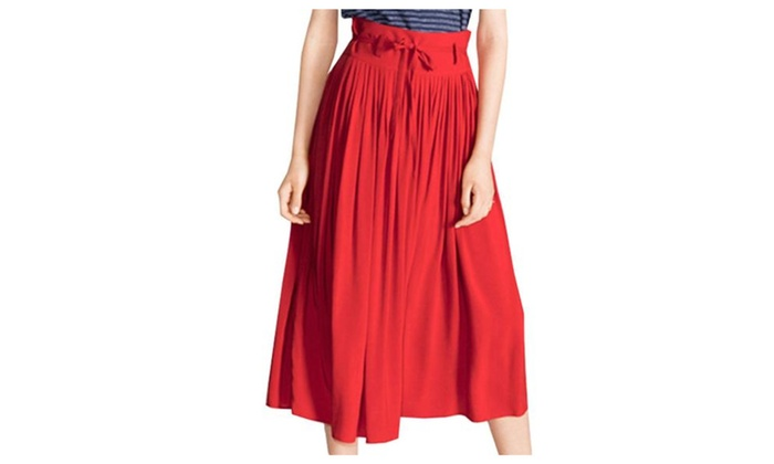 Women's A Line Regular Fit Solid Casual High Rise Skirts