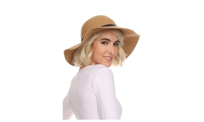 Sakkas Womens Wool Structured Wide Brim Floppy Hat With Leather Band
