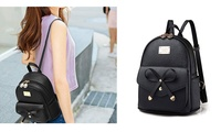 Girls Bow Leather Backpack Mini Shoulder Bag Backpack Women Purse (STYLE SOLID) photo