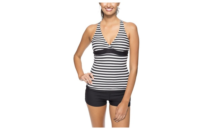 Women's Halter Push Up Striped Tankini Padded Two Piece Swimsuit