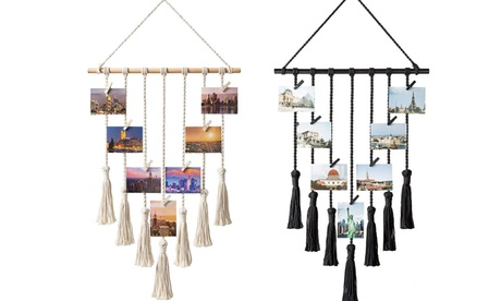 Wall Hanging Photo Display Macrame Decor with 25 Wood Clips for Living Room