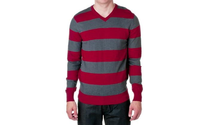 Jordan Craig Mens Legacy Cotton Striped V-Neck Sweater, 39190A