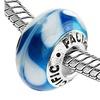 Sterling Silver 'Sugar Cane' Murano-style Glass Bead