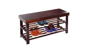 36'' Solid Wood Shoe Bench Storage Racks Seat Organizer Entryway Hallway