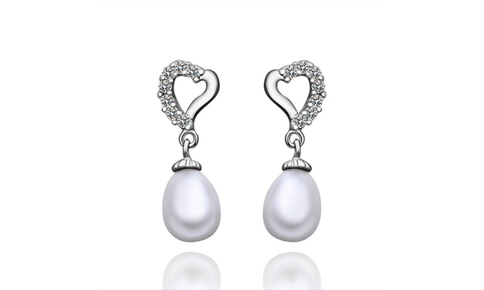 Freshwater Pearl Pav E Heart Shaped Dangling Earrings By Golden Nyc Jewelry
