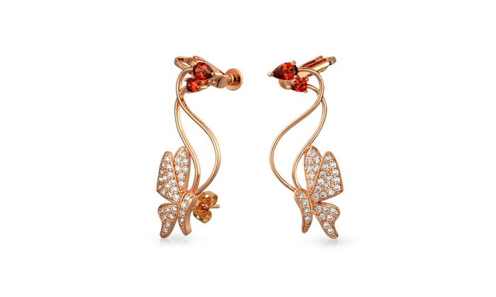 Ear Crawlers with Cubic Zirconia in Sterling Silver-Plated Brass