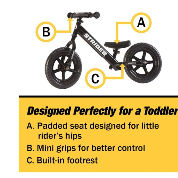 12 Sport Balance Bike Green B Ages 18 Months to 5 Years Strider