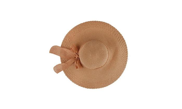 Women Wide Large Brim Floppy Summer Beach Sun Hat Straw Cap Big Bow ... 596987f83aef