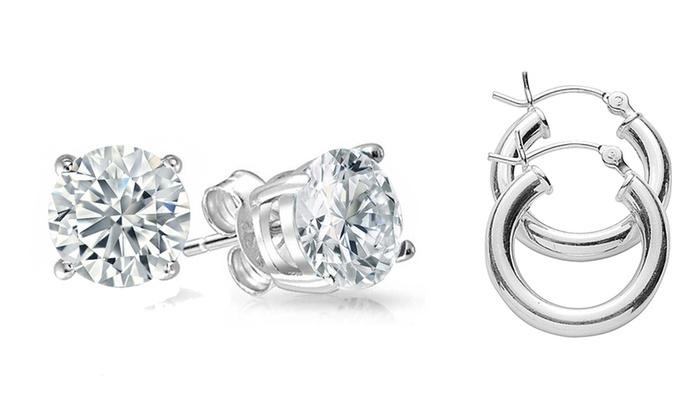 Groupon Goods Genuine Gemstone White Topaz Studs And Polished Hoop Earrings Set 2 Pack