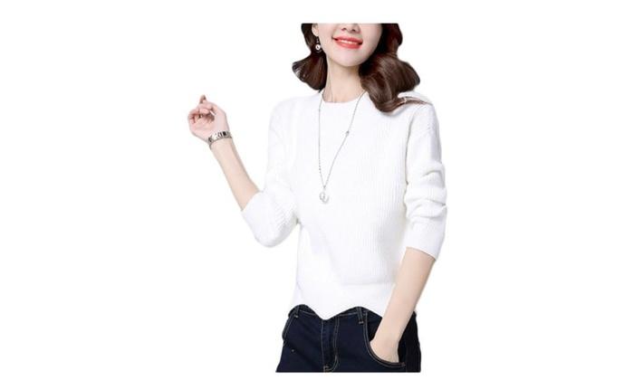 Women's Asymmetric Hem  Casual Solid Pullovers Sweater