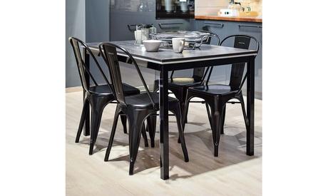 Metal Dining Chair Stackable Indoor-Outdoor Industrial Vintage Chairs Set of 4