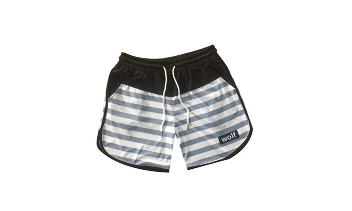 da59ec5154 Men's Beach Shorts Quick-drying Straight Stripe Trim Shorts | Groupon