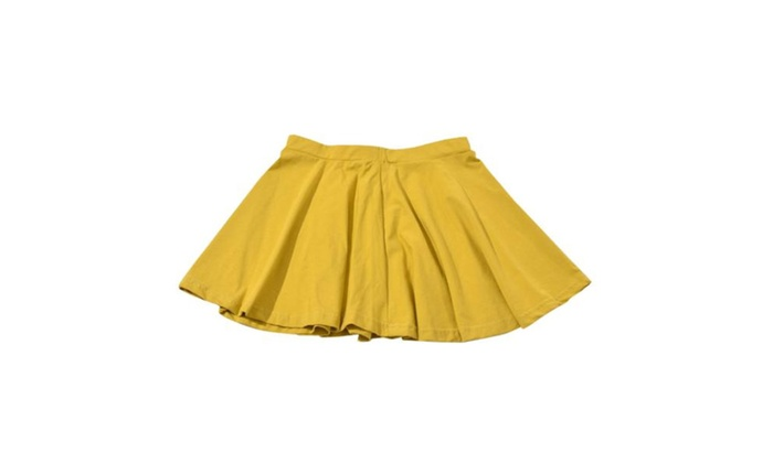 Women's Simple Mid Rise Pleated Casual Solid Skirts