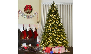 8Ft Pre-Lit Artificial Christmas Tree Hinged w/ 600 LED Lights & Pine Cones