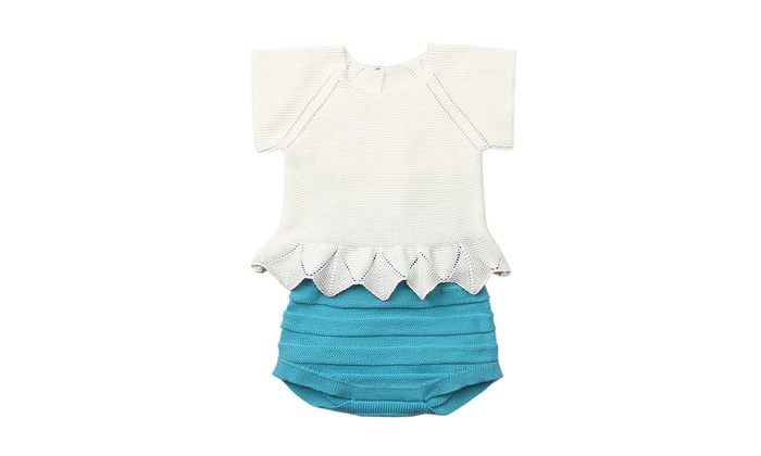 fc4aebc79fe7 White Blue Short Sleeve T-shirt with Panty Baby Suit