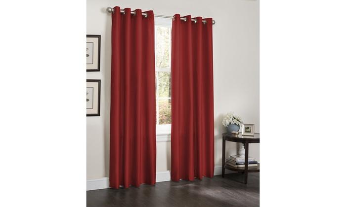 Faux Silk 8 Grommet Energy Efficient Blackout Curtain Panels