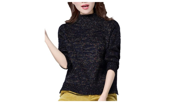 Women's Simple Pullover Solid Straight Hem Pullovers Sweater