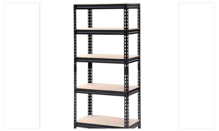 5 tier storage rack heavy duty shelf steel shelving unit warehouse - Heavy Duty Bookshelves