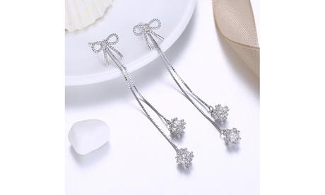 .925 Sterling Silver Twisted Mesh Knot Dangling Crystal Earrings 767f124d-42c6-4d74-a70e-a536b34847a4