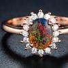 Peermont 18K Rose Gold Plating & Black Opal Flower Ring