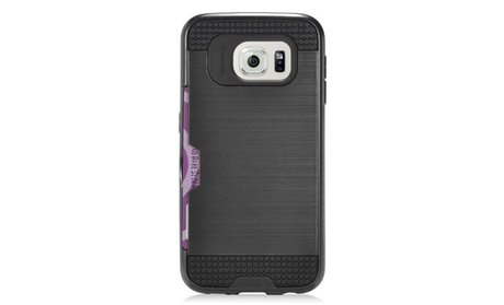 Brush Hard Hybrid 2-Layer Case with card slot For Samsung Galaxy S7...