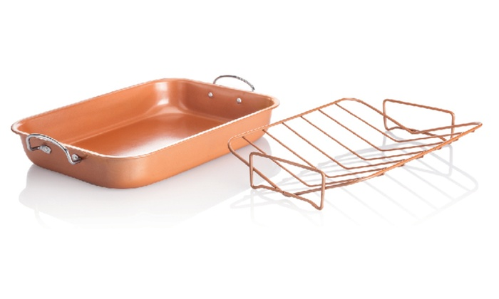 copper roasting pan copper roaster pan with removable rack livingsocial 2584