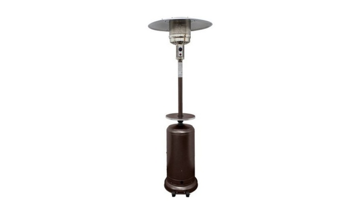 Hiland Tall Hammered Bronze Patio Heater With Table