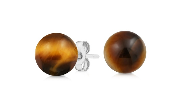 15949243a Sterling Silver Genuine Tigers Eye Ball Studs | Groupon