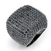 6.76 TCW Round Pave Black Cubic Zirconia Ring Black Ruthenium-Plated