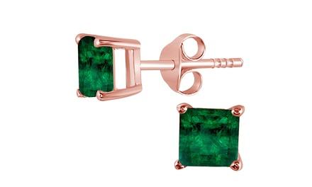 groupon.com - 14K Rose Gold 4 Ct Princess Cut Emerald Stud Earrings.