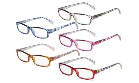 Eyekepper 5 Pairs Fashion Reading Glasses Spring Hinge Pattern Design Readers
