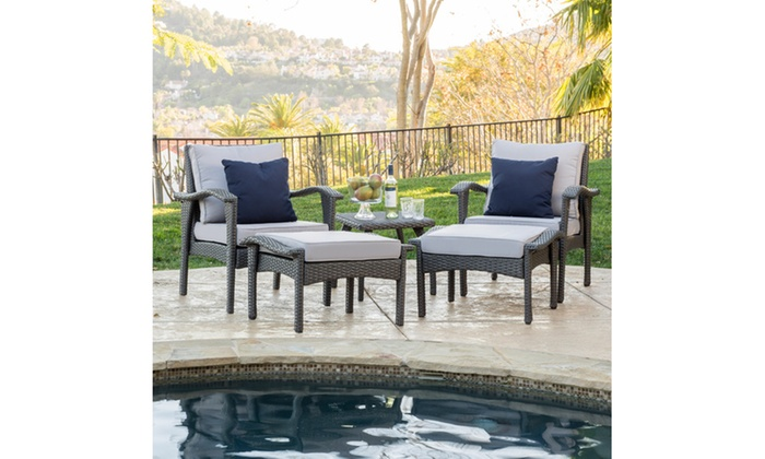 Groovy Maui Outdoor Wicker Seating Set With Table 5 Piece Groupon Best Image Libraries Weasiibadanjobscom