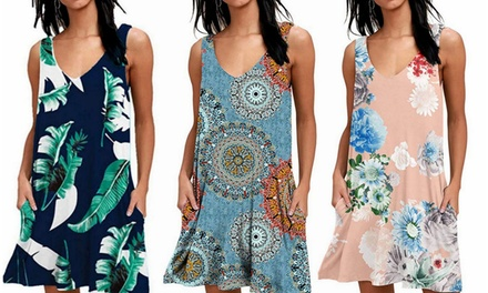 Women's Sundress Dresses Beach Cover up Sleeveless with Pockets