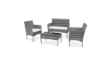 4-Piece Outdoor Patio PE Rattan Wicker Table Shelf Sofa Furniture Set