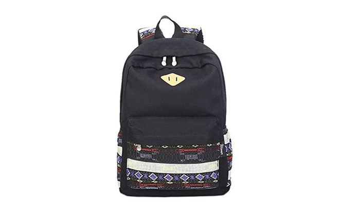 Canvas Tribal Stripes Travel Daypack Backpack With Interior Pockets