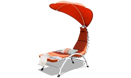 Costway Hanging Chaise Lounge Chair Swing Cushion W/Canopy