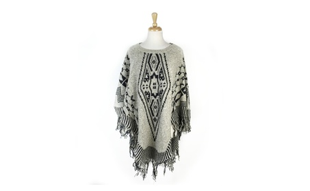 Womens Knitted Poncho Cape with Tassel Batwing Pullover Sweater
