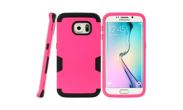 insten hard dual layer tpu cover case for samsung galaxy s6 edge