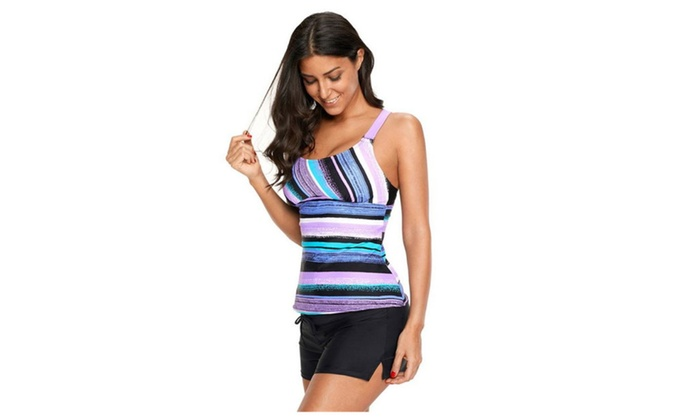 89107a72e82 Women's Stripes Print Tankini Swimsuits Modest 2 Piece Swimwear Set ...